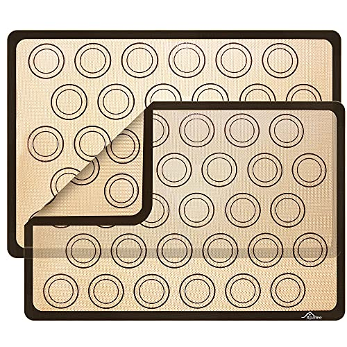 Silicone Baking Mats 2 Pack Xpatee Non-stick Macaroon Baking Mat, Heat-Resistant Cooking Bakeware Mat for Making Macarons, Pastry, Pizza, Bread (16.5' x 11.6')