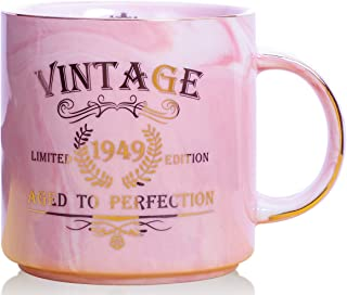 1949 70th Birthday Gifts for Women and Men Ceramic Mug - Funny Vintage 1949 Aged To Perfection - Anniversary Gift Idea for Him, Her, Mom, Dad Husband or Wife - Ceramic Marble Cups 13 oz (Pink)