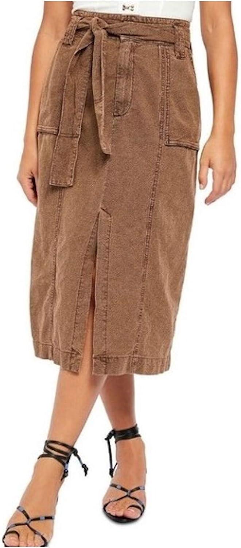 Free People Womens Catching Feelings Linen Blend Slit Midi Skirt