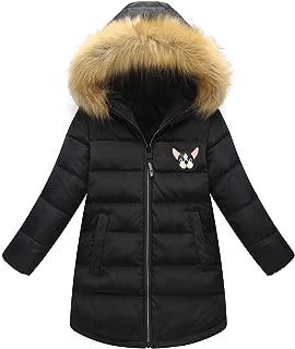 Happy Cherry Girls Winter Parka Down Coat Printed Puffer Overcoat with Fur Hood