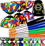 Mr Babache Harlequin Pro Diabolo Set & Aluminium Diabolo Sticks, Diablo String + Diabolos Travel Bag. (MultiColour + Black Sticks)