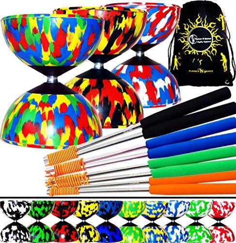 Mr Babache Harlequin Pro Diabolo Set & Aluminium Diabolo Sticks, Diablo String + Diabolos Travel Bag. (Black/Green+Silver Sticks)