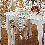 Creativas corredores de la tabla del pavo real 33 * 210 cm Mantel rectangular de comedor regalo del café de picnic Mesa Cubiertos de zapatos TV gabinete Dresser fiesta de Navidad de la decoración del