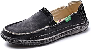 Mens Canvas Shoes Vintage Breathable Slip on Loafers Outdoor Walking