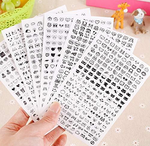 Super Cute Black and White Mini pequeño adhesivo coreano de papelería álbum diario calcomanía decorativa teléfono móvil dibujos animados estilos por azar