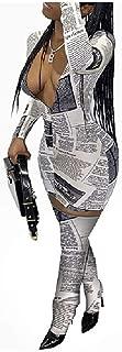 neveraway Women's Oversized Newspaper Print 2 Piece Sexy Club Dresses