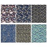 HEALLILY キルティング生地スクエアシート綿クラフト生地バンドルパッチワークプレカットキルトスクエア用diy縫製スクラップブッキングキルティング用品6ピース
