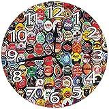 Mailine Reloj de Pared Tapas de Botellas de Cerveza Reloj Redondo Decoración silenciosa para el hogar Reloj de Pared Números arábigos Reloj de Interior