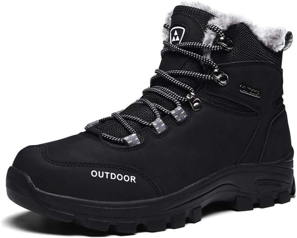 Men Women Warm Trainers Trekking Hiking Boots Winter Comfortable Waterproof Snow Boots,Black,46