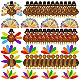 """Thanksgiving Craft Kits Included: 36 pcs turkeys and 276 pcs colorful feathers with 320pieces dot glues, Makes up to 36 turkeys, 3 different turkey craft kit, enough to meet the needs of party activities Write Your Thanks: Turkey body reads """"I am Tha..."""