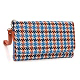 Kroo Clutch Wristlet Wallet Case for Smartphones up to 6.3-Inch - Non-Retail Packaging - Blue Houndstooth and Orange