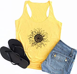 HRIUYI Womens Sunflower Tank Tops Graphic Sleeveless Sunflower Shirt Funny Workout Vest Tee