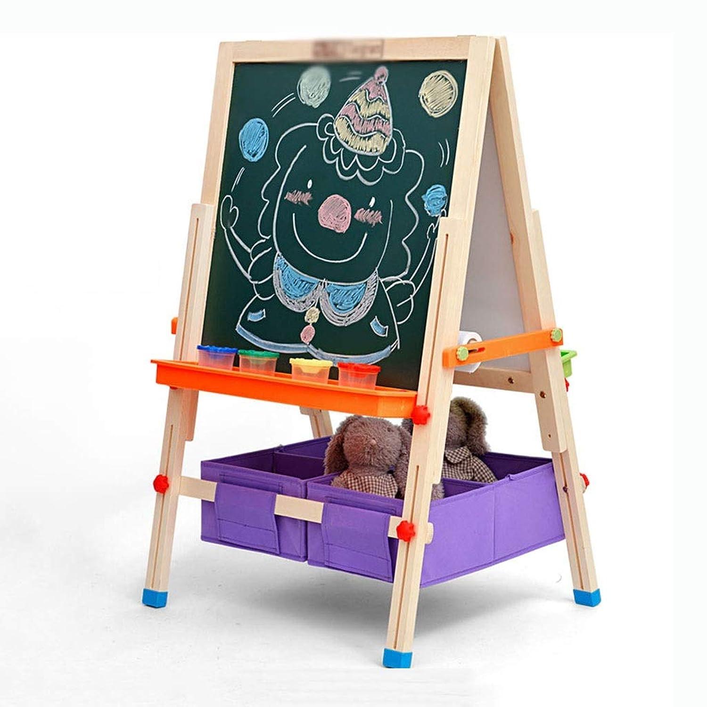 子供の製図板両面磁気製図板持ち上がるイーゼル子供の小さい黒板の純木の執筆板、持ち上がる設計 (Color : Wood, Size : 136*63*20cm)