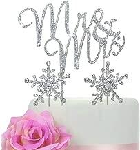 Lulu Sparkles LLC Crystal Rhinestone Winter Wedding Monogram Mr & Mrs & Snow Flakes Cake Topper Wedding Cake Jewelry Bling Keepsake Set (Silver_Snow Flake Set)