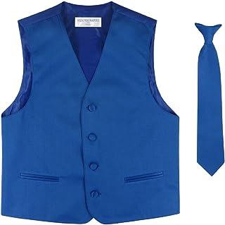 Boy 'sドレスベスト&ネクタイソリッドロイヤルブルー色ネクタイセット