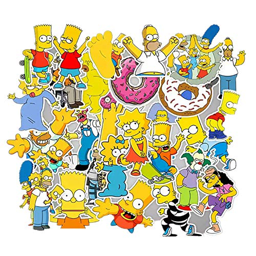 PRXD 50 Piezas de Pegatinas de Simpson, Pegatinas de Vinilo a Prueba de Agua para Ordenador portátil, teléfono,...