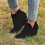 LYYJF Zapatos de Punta Mujeres de la Plataforma Retro Botas Botas Cuñas Cremallera de Las Mujeres de Color sólido Corto Botines Redondos,Negro,37