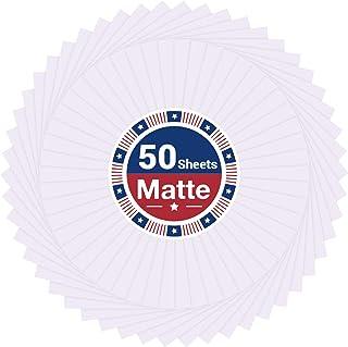 Printable Vinyl Sticker Paper for Inkjet and Laser Printer - 50 Pack Matte White Waterproof Printable Vinyl - Dries Quickl...