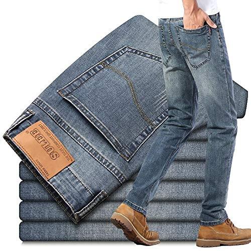 ShSnnwrl Cómodo y Suave Vaqueros para Jeans Pantalones Vaqueros De Negocios Vaqueros Elásticos Rectos para Hombres Moda Casual Es