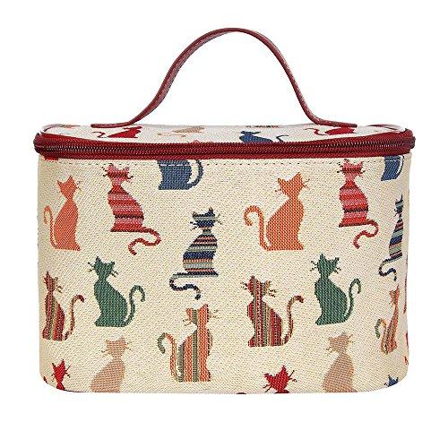 Signare Tapisserie kulturtasche,damen, make up tasche, kosmetikkoffer, make up aufbewahrung mit Katzendesigns. (Freche Katze)