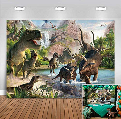Jurassic World Dinosaur Park Decorations Backdrop Photography Children Birthday Party Banner Vinyl Tropical Jungle Safari Animals Baby Shower Photo Booth Studio Prop 5x3ft Photo Background Cake Table