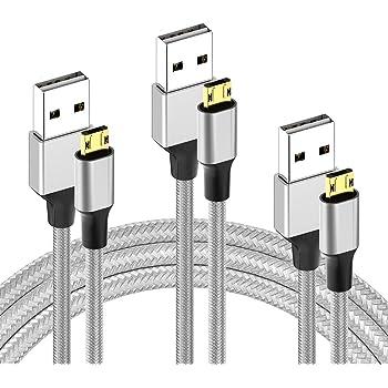 microusb 充電ケーブル 両面挿し リバーシブル 裏表挿せる 2.4A急速充電 高速データ転送 マイクロ アンドロイド USBコンタクト ナイロン編み usb2.0 Xperia Galaxy Androidスマホ 各種対応 (0.5m+1m+2m)【3本セット】