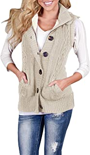 Women's Cable Knit Sleeveless Hoodies Button Down Sweater Vest with Pockets