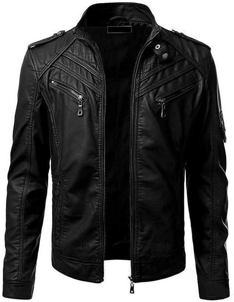 iQKA Men Winter Lightweight Imitation Leather Jacket Biker Motorcycle Big-Tall Zipper Jackets Fashion Long Sleeve Coat