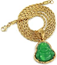 Stainless Steel Gold Smiling Chubby Buddha Pendant w/3mm Rope Chain (Multiple Colors)