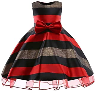 SEASHORE Girls 3-9 Years Bowknot Princess Dress Satin Flower Girl Wedding Costume Piano Performance Clothing (Color : Red, Size : 4-5Years)