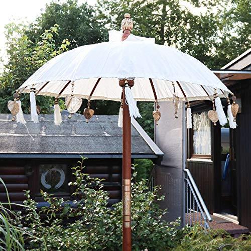 Oriental Galerie Bali Sonnenschirm Balinesischer Schirm Garten Baumwolle Sonnenschutz Handarbeit Retro Vintage Dekoschirm 2-teilig ca. 90 cm Weiß