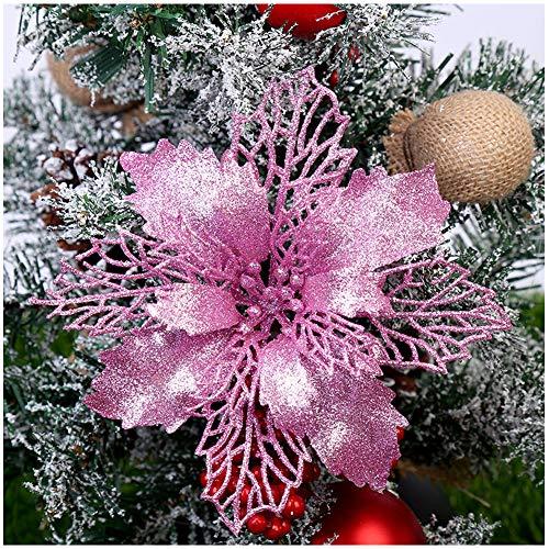 TT-Best - Stelle di Natale artificiali glitterate per albero di Natale, decorazioni natalizie o per matrimoni, diametro 16 cm, confezione da 12 rosa