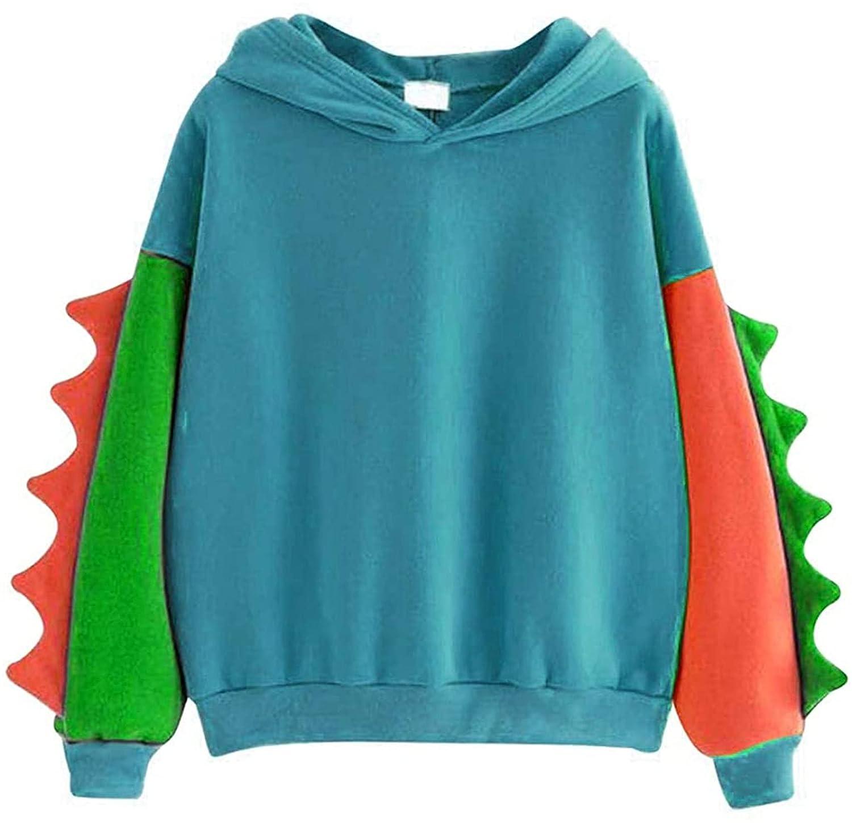 Dinosaur Sweatshirt for Teens Girls Cute Hoodie Women Hooded Sweatshirt Long Sleeve Warm Pullover Tops (XX-Large,Blue2)