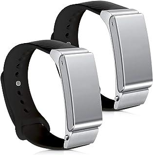kwmobile 2X Pulsera Compatible con Huawei Talkband B2 - Brazalete de Silicona en Negro/Blanco sin Fitness Tracker