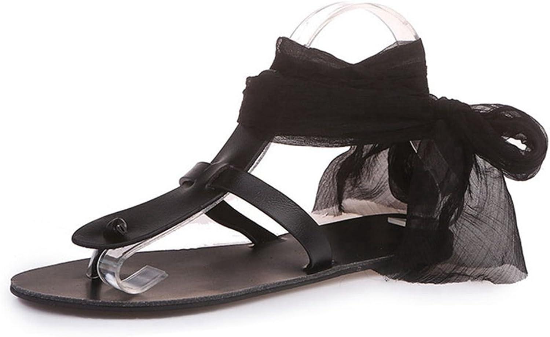 GIY Womens Ladies Lace up Slippers Anti-Slip Dressy Summer Outdoor Casual Flat Slide Sandals Flip Flops