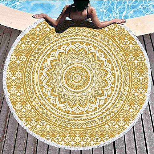 Kseyic Mandala - Telo da spiaggia rotondo, stile indiano, grande coperta rotonda da spiaggia, in microfibra, con frange, asciugatura rapida, senza sabbia, da viaggio (19)