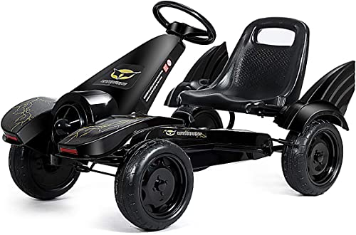 Costzon Pedal Go Kart, Pedal Powered Kids Ride on Car Toy, Children's 4 Wheels Riding Car w/ Adjustable Seat, Foot Pe...
