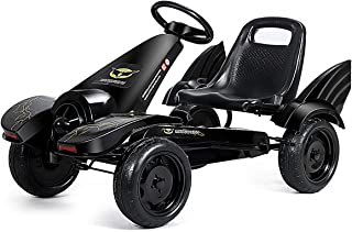 HONEY JOY Pedal Go Kart, 4 Wheel Racing Peal Car for Kids, Adjustable Seats, Handbrake and Shift Lever, Outdoor Foot Pedal-Powered Street Racer Vehicle for Boys Girls 3-8 Years, Cartoon Shape w/Swing