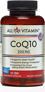 All-Star Vitamin, CoQ10 200 MG, 100 Vegetarian Capsules 10% Free, Heart Health, Soy Free, Recommended for Statin Users, No...
