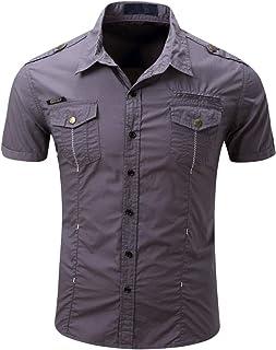 HULANG Mens Military Short Sleeve Twill Work Shirts Casual Button Down Shirts Pockets