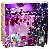 LED Lichterkette, BIGHOUSE 5M 50 LEDs Mehrfarbig Lichterkette Außen mit Stecker, 8 Modi, Merk Funktion, Wasserdichte IP44, Kugel Lichterkette...