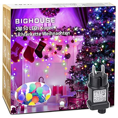 Lichterkette Weihnachtsbaum, BIGHOUSE 5M 50 LEDs Kugel Lichterkette Bunt mit Stecker, 8 Modi und Merk Funktion LED Lichterkette, Wasserdichte IP44, für Innen/Außen Dekoration