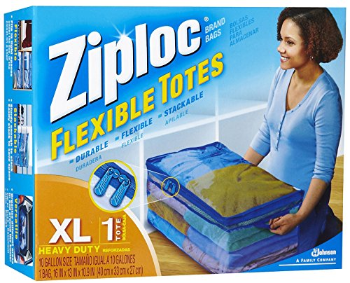 Ziploc XL Flex Flexible Tote With Handle, Large, Clear