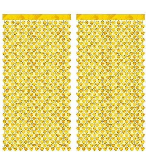 CozofLuv 2 Packung Metallic Tinsel Vorhänge, Folie Fringe Schimmer Vorhang Tür Fenster Dekoration für Geburtstag Hochzeit (Gold Herz)