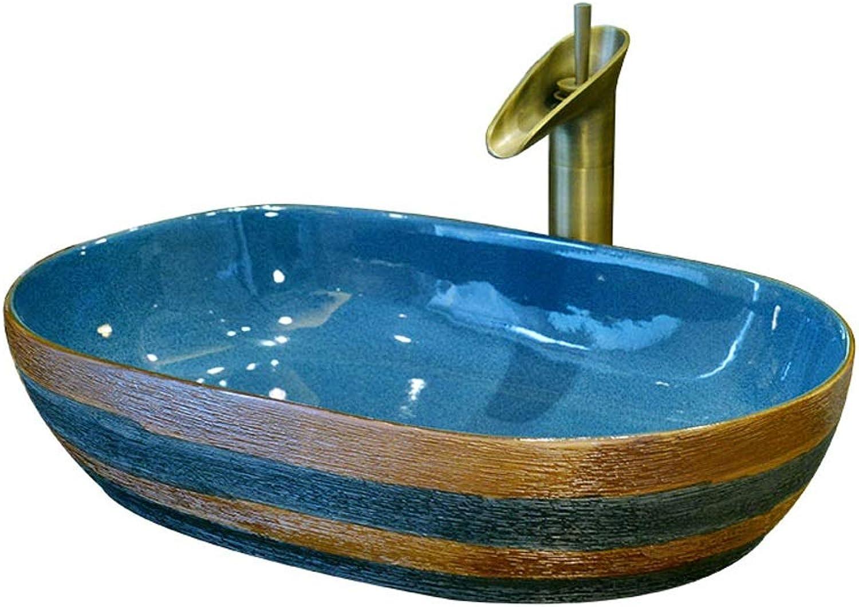 YLYWCG Aufsatzbecken Oval Keramik Waschbecken,Oval Art Basin Keramik-Waschbecken Badezimmer-Waschbecken, 62X42X14 cm (ohne Den Hahn)