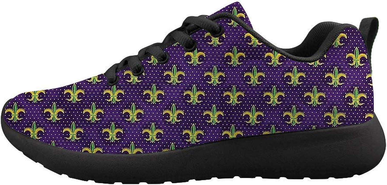 Owaheson Cushioning Sneaker Trail Running shoes Mens Womens Mardi Gras colors Purple Fleur-de-lis
