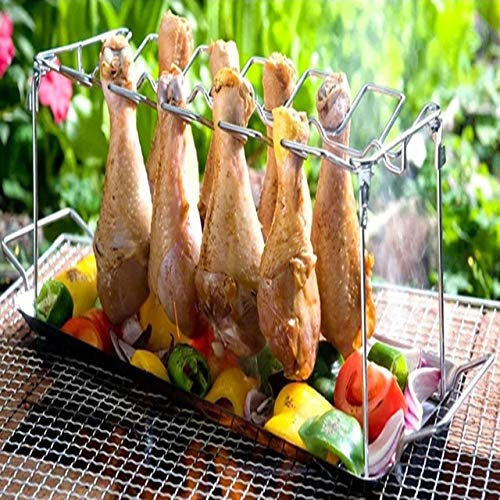 Stainless Steel Chicken Wing Leg Rack Grill Holder Rack with Drip Pan for BBQ Multi-Purpose Chicken Leg Oven Grill Rack,B