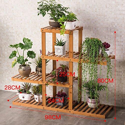 Yxsd Balcon Pot Rack Multicouche Fleur de Bois Massif étagère Salon intérieur Plancher de Bois Plancher de Fleurs (Size : 64 * 28 * 60cm)