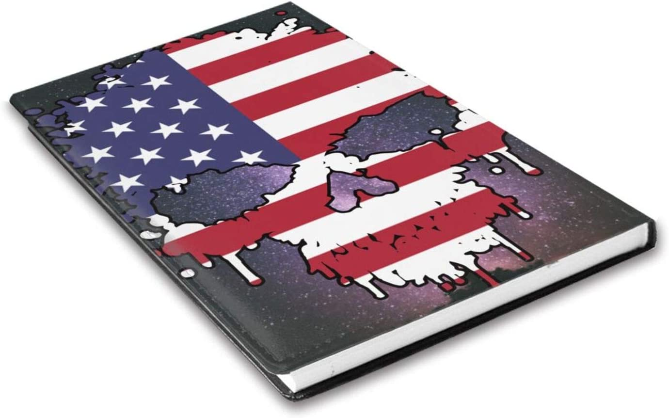 Ramwans American Skull Titched Leather Journal Notebook Cover with Inside Pocket for Men A5