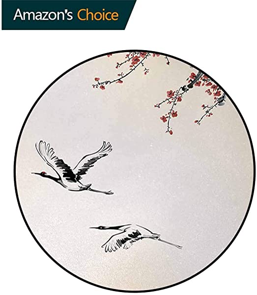 Birds Modern Machine Washable Round Bath Mat Branches Of Japanese Cherry Tree With Flying Swallows In The Air Spring Colors Non Slip Soft Floor Mat Home Decor Diameter 59 Inch Red Grey Ecru
